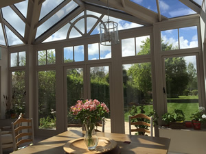 A high ceiling in an orangery /conservatory has many benefits