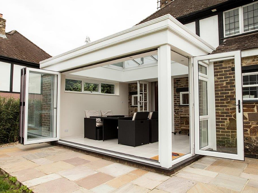 Orangery with bifolding doors. Making the most of the lovely garden views