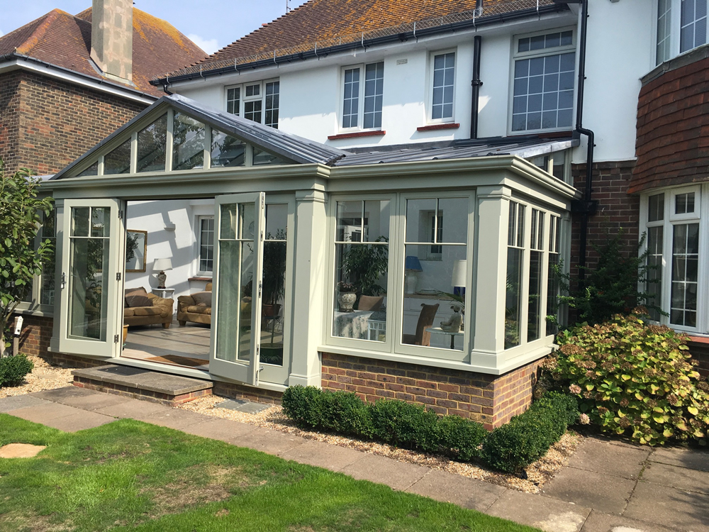 This gable designed conservatory in hard wood in Hove makes for an ideal retirement environment