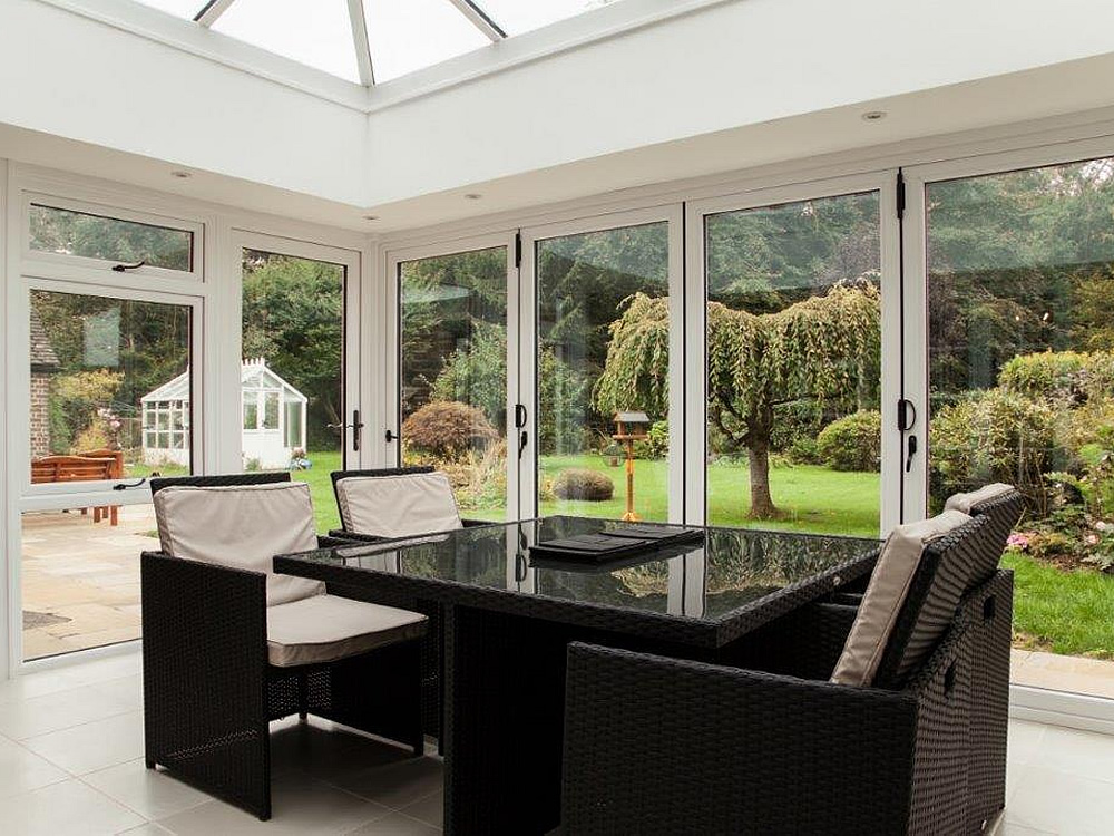 Inside an orangery. The brief was to get the best view of the garden - job done